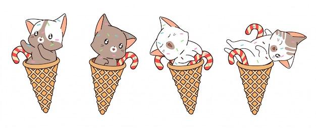 Gato kawaii diferente dentro da casquinha de sorvete