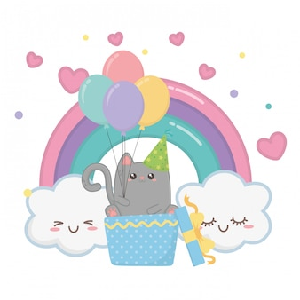 Gato kawaii e feliz aniversario
