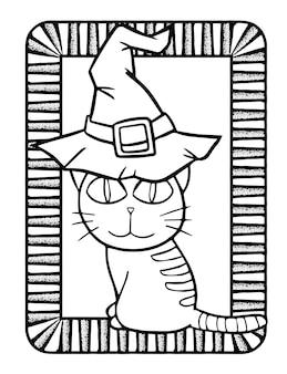 Gato kawaii engraçado e fofo sentado e usando chapéu de bruxa para o halloween - página para colorir
