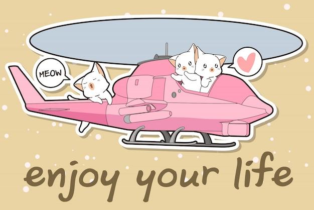 Gato kawaii está dirigindo um helicóptero com os amigos