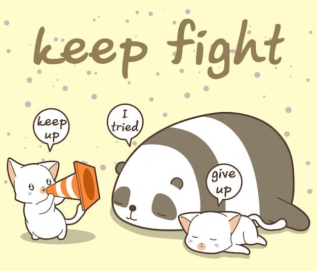 Gato kawaii está gritando para acordar para amigos