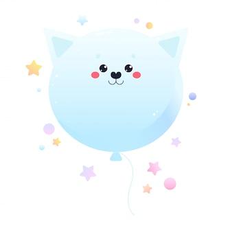Gato kawaii fofo de balão. animal isolado