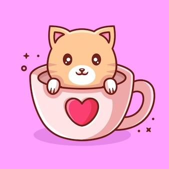 Gato kawaii fofo em uma xícara ilustração em vetor desenho animado vector animal de estimação premium em estilo simples