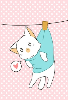 Gato kawaii hunging