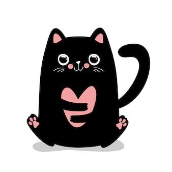 Gato kawaii preto com coração. ilustração vetorial eps 10