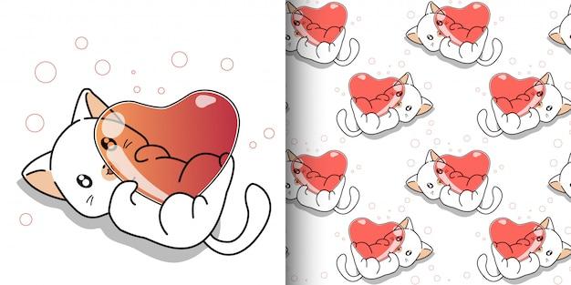 Gato kawaii sem costura padrão está abraçando o coração