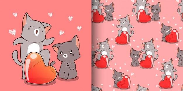Gato kawaii sem costura padrão está gritando a palavra amor
