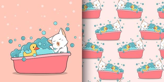 Gato kawaii sem costura padrão está tomando banho com pato patinho