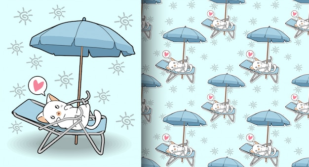 Gato kawaii sem emenda no berço com um padrão de guarda-chuva ao ar livre
