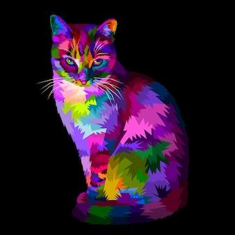 Gato legal colorido sentado e olhando