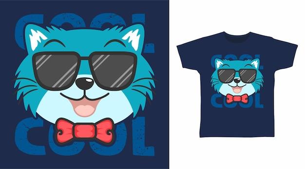 Gato legal com design de camiseta de óculos