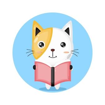 Gato lendo um livro com logotipo de personagem fofo