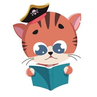Gato lendo um livro com um chapéu de pirata
