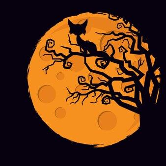 Gato, ligado, árvore caçada, dia das bruxas, fundo