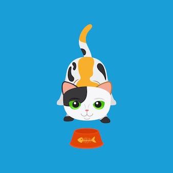 Gato malhado bonito dos desenhos animados com tigela
