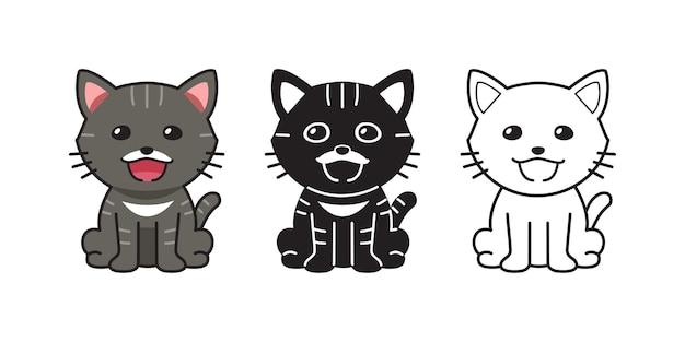 Gato malhado de personagem de desenho animado de vetor definido para o projeto.