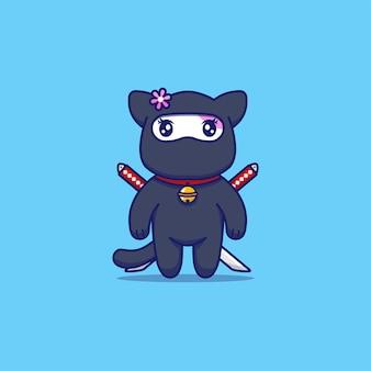 Gato malhado fofo com fantasia de ninja