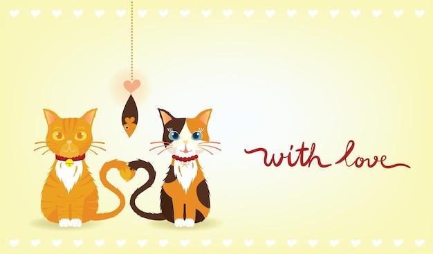 Gato malhado laranja e gatos de chita estão apaixonados
