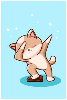 Gato marrom com pose fofa com fundo azul