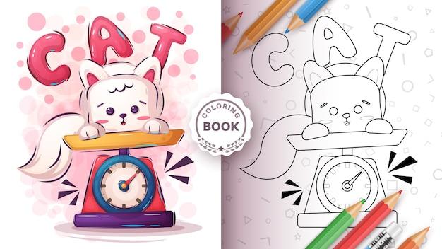 Gato na balança - página para colorir.