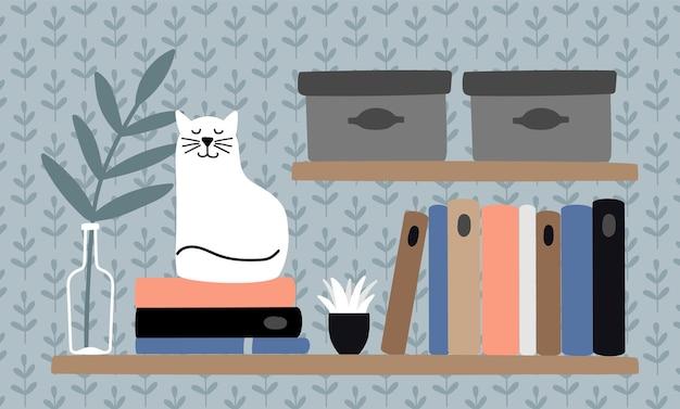 Gato na estante de livros. animal inteligente, animal de estimação e livros. lendo conceito aconchegante, ilustração vetorial de local de trabalho em casa