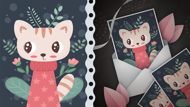 Gato na floresta - ideia para cartão