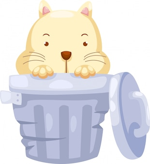 Gato na ilustração trashcan