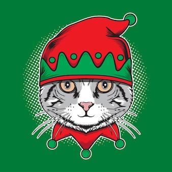 Gato natal com ilustração de chapéu de duende fofo