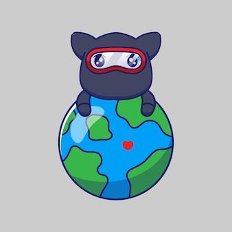 Gato ninja fofo abraçando o planeta terra