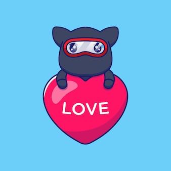 Gato ninja fofo abraçando um balão do amor