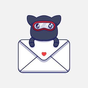Gato ninja fofo abraçando um envelope grande