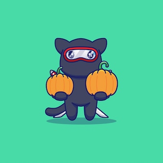 Gato ninja fofo carregando abóboras