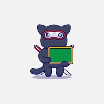 Gato ninja fofo carregando quadro-negro