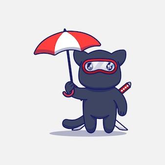 Gato ninja fofo carregando um guarda-chuva