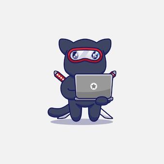 Gato ninja fofo carregando um laptop