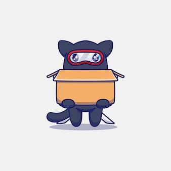 Gato ninja fofo carregando um papelão