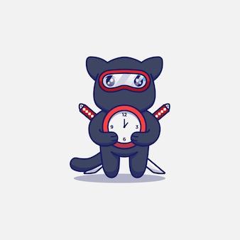 Gato ninja fofo carregando um relógio