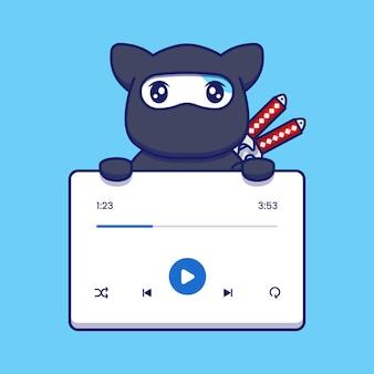 Gato ninja fofo com aplicativo de reprodutor de música