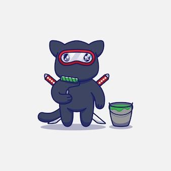 Gato ninja fofo com ferramenta de pintura