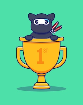Gato ninja fofo com grande troféu