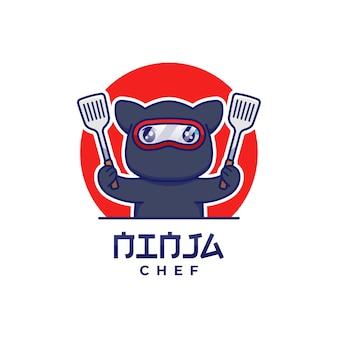 Gato ninja fofo com logotipo de espátulas