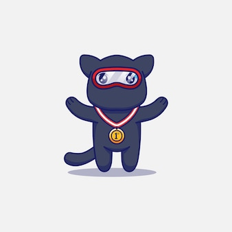 Gato ninja fofo com medalha