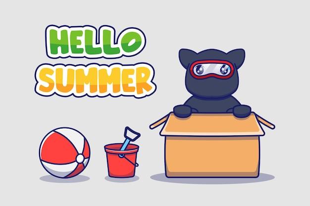 Gato ninja fofo com saudação de verão olá