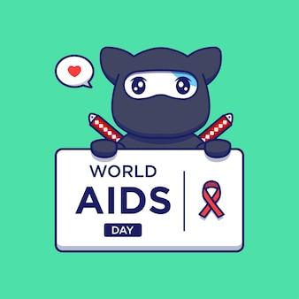 Gato ninja fofo com saudação do dia da palavra aids