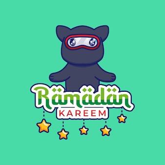 Gato ninja fofo com saudação ramadan kareem