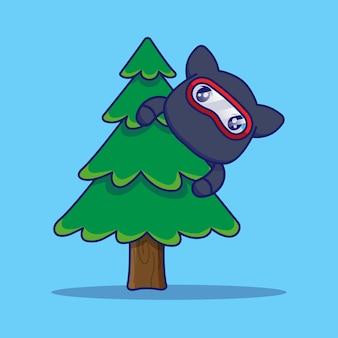 Gato ninja fofo escondido atrás de uma árvore