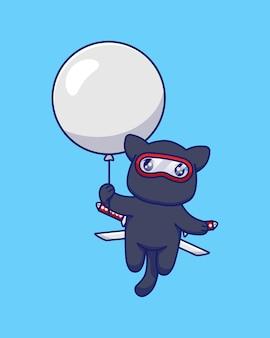 Gato ninja fofo flutuando com balão