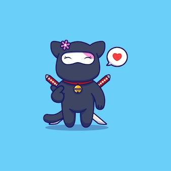 Gato ninja fofo posando com a mão do amor