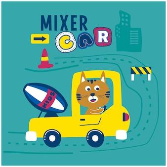 Gato no caminhão da batedeira desenho animado de animal