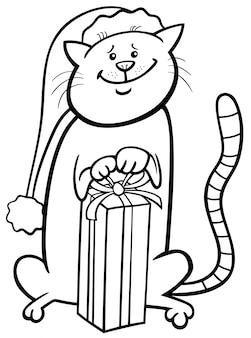 Gato no livro de colorir dos desenhos animados de natal